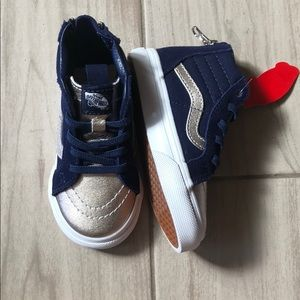 Other - Navy blue and silver higtop toddler vans sz 6.5
